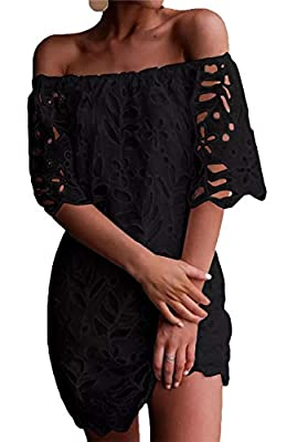 Material: 85%Polyester + 15%Cotton, High quality Lace,Classy and Sexy Style Features: Elegant Off Shoulder Design, Scoop Neck, Short Sleeve,Flare Floral Pattern ,Gorgeous lace design, Lining inside, Loose Fit,Above Knees, A-Line style, Flared swing T...