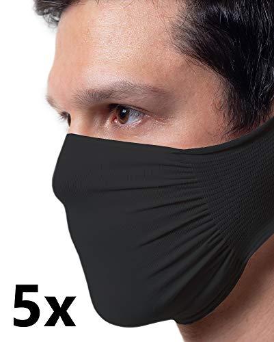 5 X Fascia Protettiva Nera, Idrorepellente, Batteriostatica in poliammide lavabile e riutilizzabile, confezione da 5