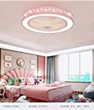 Ceiling Fan with Lighting Smart Fan Ceiling Fan LED Light Adjustable Wind Speed 48W Dimmable Remote Control and APP Restaurant Bedroom Kitchen-Pink
