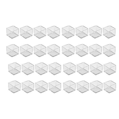 Piedini Protettivi per Gambe di Tavoli Mobili e Sedie Gomma Copertine Tappi Cappellini Piedini Quadro PVC per 25mm (32, Trasparente)