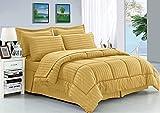 Elegant Comfort Wrinkle Resistant - Silky Soft Dobby Stripe Bed-in-a-Bag 8-Piece Comforter Set - King Gold