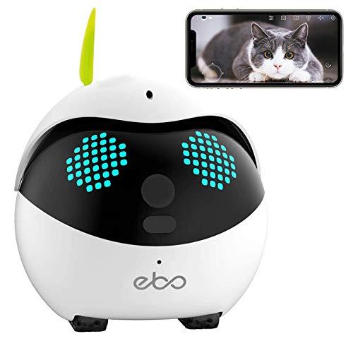 Enabot Ebo Familybot Sicherheitsüberwachungsroboter, intelligente IP-Kamera, Petpal Catpal Live-Video, Begleiter für Haustiere mit Fernbedienung (Ebo S)