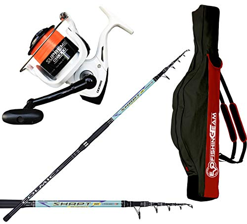 agc Kit SURFCASTING PRO Canna COLMIC SHAPT SURFCASTING 390 + Evo Fishing Mulinello Supreme 8000 + Fodero in Cordura