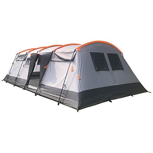 skandika Hurricane 12 - Tente de Camping familiale Tunnel - 12 Personnes - 700x405 cm - avec ou sans Tapis de Sol Cousu (Gris/Orange avec Tapis de Sol Cousu)