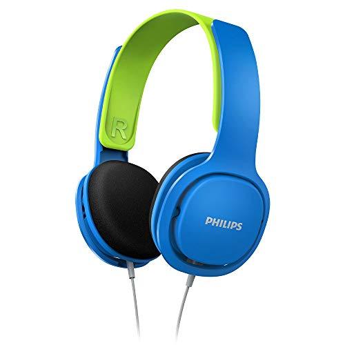 Philips Audio SHK2000BL/00 Casque pour Enfant, Casque Supra-auriculaires (Enfant Casque Anti Bruit, Limitation du Volume Sonore, Arceau Ergonomique, Diaphragme des Hauts-parleurs de 32 mm) Bleu/Vert