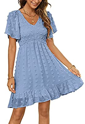 FEATURES: This Swiss Dot Short Dress Features Sexy V Neckline,Stretchy Smocked Bust,Short Flutter Sleeves,Curved Front Waistline With Elastic Waistband,Short Length With Ruffle Hem,This Smooth Chiffon Swiss Dot Babydoll Dress Is So Trendy For Summer ...