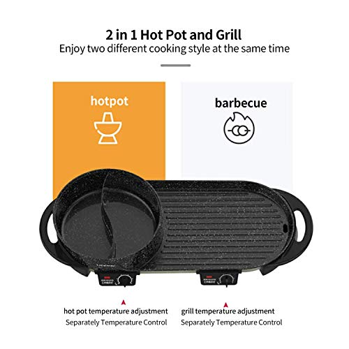 Product Image 4: Liven Electric Grill With Hot Pot SK-J6860 Multifunctional, Indoor Teppanyaki Grill/Korean BBQ/Shabu Shabu Hot Pot, 3.6L Capacity for 2-10 People