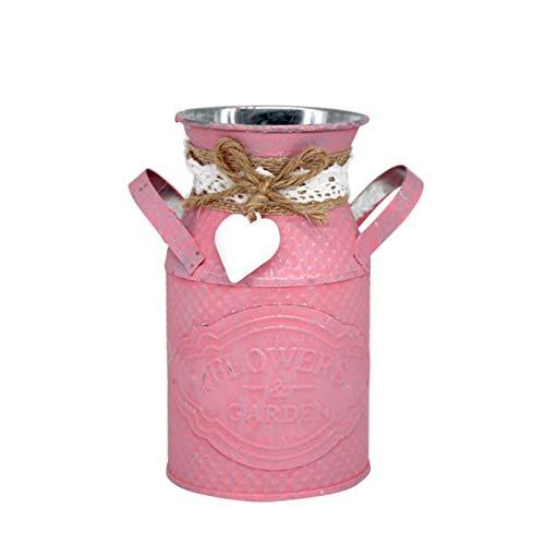 Sencillo e innovador Macetero cilíndrico Sala de estar Tienda Adorno pastoral Artesanía de hierro Florero personalizado Señoras