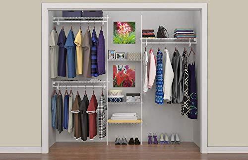ClosetMaid 5636 SuperSlide 5-Feet to 8-Feet Closet Organizer Kit, White