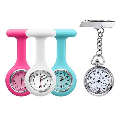 Set di 4 orologi da infermiere in silicone e metallo.