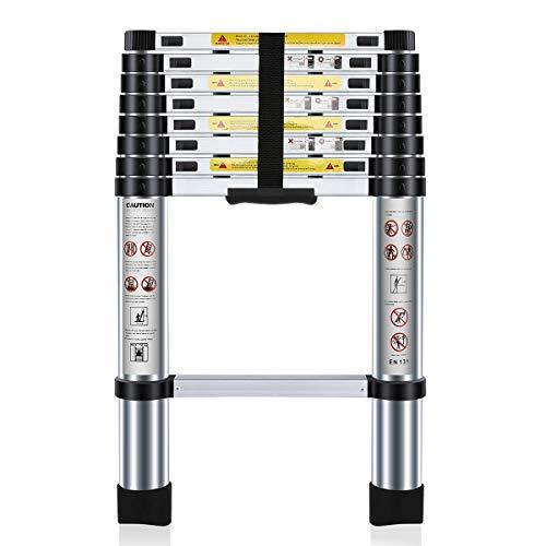Nestling® Teleskopleiter 2.6M Alu Leiter Ausziehbar Haushaltsleiter Teleskopleiter Aluminium Klappleiter Ausziehleiter Mehrzweckleiter -Maximale Belastbarkeit 150 kg