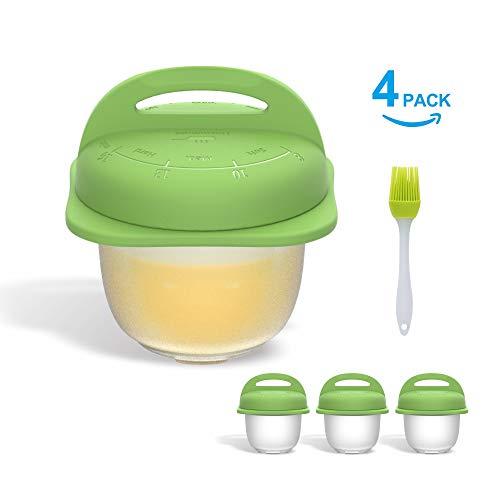 Cuvettes à œufs de qualité supérieure - Système de vidage facile - Instruction intégrée dans le temps - Biscuit d'œuf - Braconniers en silicone pour œufs durs