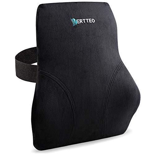 Vertteo Full Lumbar Black Support Premium Entire High Back Pillow for Office Desk Chair and Car Seat - Ergonomic Comfortable Memory Foam Cushion Relieves Couch Sofa Reading Lower Sciatica Pain
