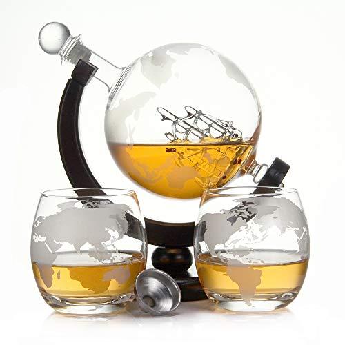 Botella de Whisky de 750 ml y 900 ml de Cristal soplado y 2 Vasos de 350 ml Cada uno, decantador de 0,75 litros, Vidrio, Blanco, Globus Holz Set