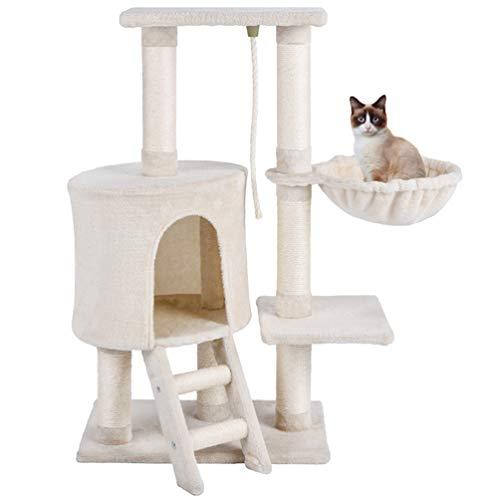 MC Star Cat Tree with Scratching Post Hammock Platforms Scratch Natural Sisal Cat Toy 96cm, Beige