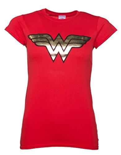 TruffleShuffle Womens Red Wonder Woman Gold Logo T Shirt