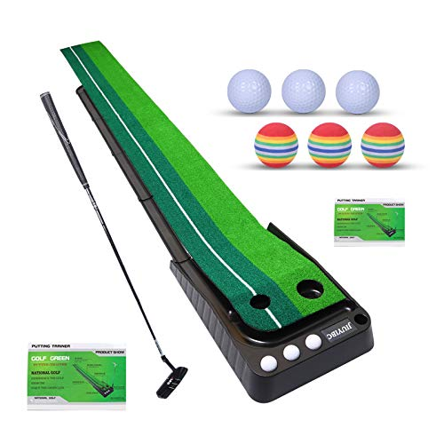 JIUYIBC Golf Putting Green and Putting Mats - Indoor and Outdoor Protable Golf Putting Mats with Auto Ball Return for Home, Office Use, Perfect Putting Practice Mat, Golf Gifts for Men