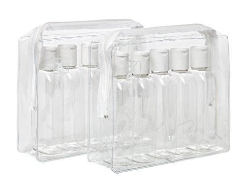 Lot de 2packs de voyage en plastique transparent avec 10bouteilles de...