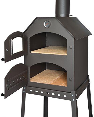 acerto 40487 Forno pizza professionale per il giardino - 40x53x53x41 cm * mattoni di argilla refrattaria * termometro * valvola a farfalla | forno per pizza a doppia camera