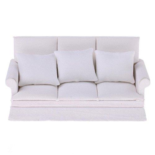 REFURBISHHOUSE 1:12 Casa delle Bambole Miniatura Mobilia Tre-Seater Divano Divano Cuscino Set Bianca