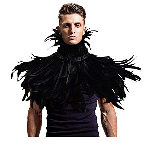 L'VOW Gothic Black Feather Shrug Cape Shawl Halloween Costume for Men (Style -02)