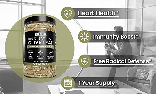 Olive Leaf, 1 Year Supply, 730 Capsules, 940mg, No Magnesium or Rice Filler, Non-GMO, Antioxidant, Gluten-Free, 20% Oleuropein, Made in USA, Undiluted Olive Leaf with No Additives 9