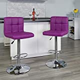 Flash Furniture Contemporary Purple Quilted Vinyl Adjustable Height Barstool with Chrome Base