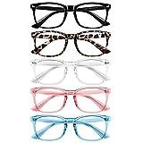 BOSSWIN Blue Light Blocking Glasses - 5Pack Computer Game Glasses Blue Light Blocker Glasses for Women Men, Anti Eyestrain & UV Glare Non Prescription