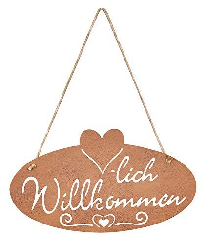 levandeo Schild Willkommen Rost Herz 40x22,5cm Edelrost Garten-Deko Rostdeko Türschild Wandbild Wandschild