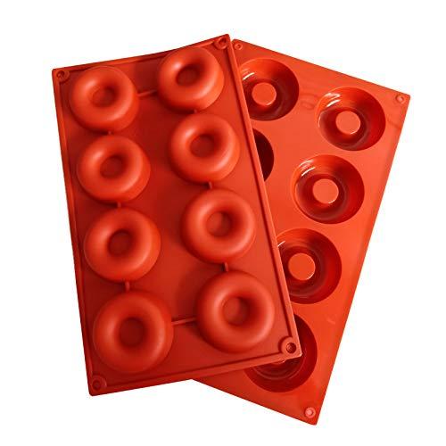 2PZ Molde de Silicona para Donuts 8 Agujeros, Antiadherente Molde de Silicona, Moldes Silicona de Horno Herramienta de Cocina Resistente al Calor para Hacer Galletas, Magdalenas, Pasteles, Bagels