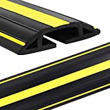 Eapele 6.5ft Cable Protector Cord Cover for Floor,Heavy Duty PVC Duct Easy to Unroll,Prevent Trip Hazard for Home Office or Outdoor Settings