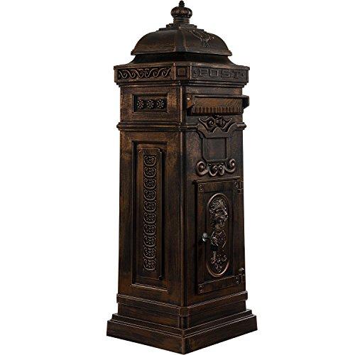 Maxstore Antiker englischer Standbriefkasten, rostfreies Aluminium, Höhe: 102,5 cm, Farbe: Bronze, 3 Jahre Garantie