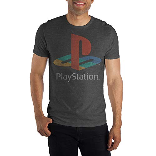 Sony Playstation Classic Logo Tee, PS1 PS2 Gaming Console, Rough Weathered Style on Charcoal T-Shirt - Large