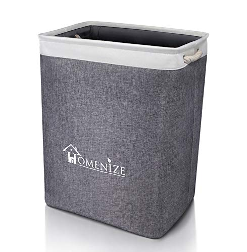 HOMENIZE® Moderner Wäschekorb inkl. eBook für exzellente Ordnung - 65 Liter Faltbarer Wäschepuff im eleganten Design für die ganze Familie