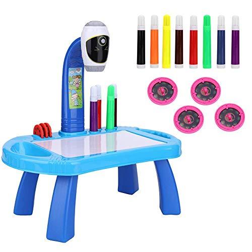 Tavolo da Disegno per Bambini Proiettore Set di Pittura Proiettore da Tavolo Kit di Disegno Giocattoli Educativi Precoci Compleanno Natale Regalo Artigianale per 3 4 5 6 7 8 Anni Ragazzo Ragazza(Blue)