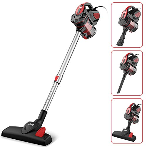 INSE Vacuum Cleaner Corded 18KPA Powerful Suction Stick Vacuum Cleaner with 600W Motor Multipurpose 3 in 1 Handheld Corded Vacuum Cleaner I5 Red