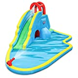 Deluxe Inflatable Water Slide Park Heavy-Duty Nylon for Outdoor Fun - Climbing Wall, Slide, & Splash Pool Easy to Set Up & Inflate with Included Air Pump & Carrying Case