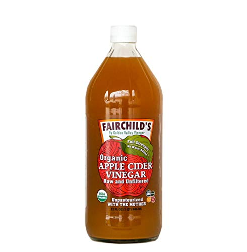 Fairchild's Organic Apple Cider Vinegar with the Mother, 32 oz. Washington State organic apples, undiluted 25% stronger,no concentrate, glass bottle