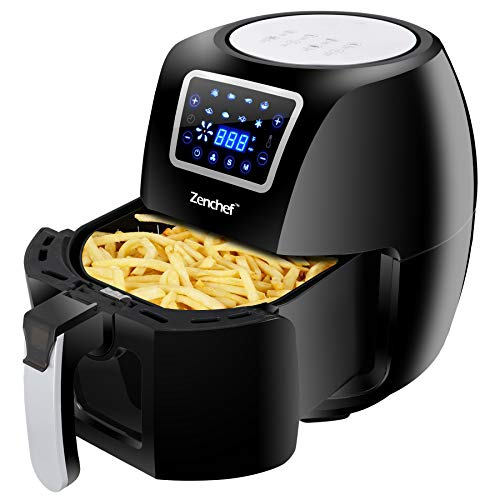SUPER DEAL Zenchef 8in1 5.8QT Electric Air Fryer 1800W Family Size Oil Free w/Time & Temperature Control Dishwasher Safe Parts