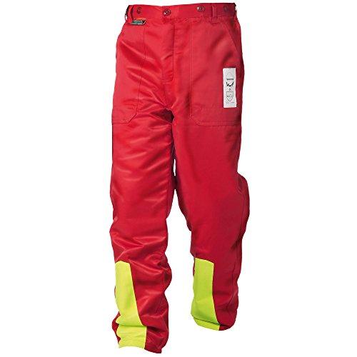 WOODSafe Schnittschutzhose Klasse 1, Forsthose, kwf-geprüft, Bundhose rot/gelb, Herren - Waldarbeiterhose mit Schnittschutz Form A, leichtes Gewicht (62)
