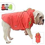 Lovelonglong Fashion Hooded Pet Dog Raincoat, Lightweight Dog Rain Jacket Zipper Closure Rain Poncho with Reflective Strip for Pug French Bulldog Red B-S