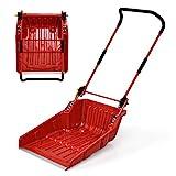 Goplus Poly Sleigh Shovel, Folding Scoop Snow Shovel with Wheels for Walkways, Sidewalks, Patios (Red)