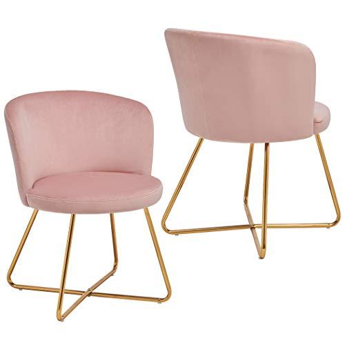 2x Sedia da sala da pranzo sedia imbottita design retro vintage con piedini in metallo sedia di sala d'attesa conferenza Duhome 8076X, colore:rosa chiaro, materiale:velluto
