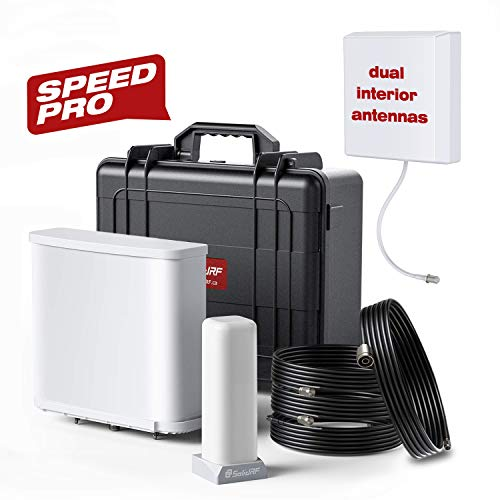 SolidRF Cell Phone Signal Booster for Home Office Dual Interior Antennas Speedproplus Kit Cell Booster for Verizon, AT&T, T-Mobile, Sprint Up to 15, 000 SQ Ft