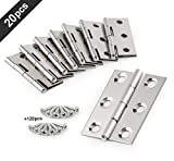 20 Pcs Stainless Steel Folding Butt Hinges Silver Tone Home Furniture Hardware Door Hinge with 120 pcs Stainless Steel Screws