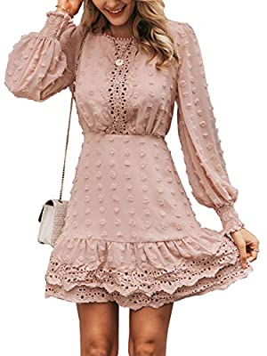 ❃Material: Chiffon, 100%Polyester; a little through and comfortable, three-dimensional printed fabric ❃Features: Sweet ruffle mini dress, v neck, ruffle short sleeve and ruffle hem design, tie wasit, a-line and slim fit style, invisible zipper in the...