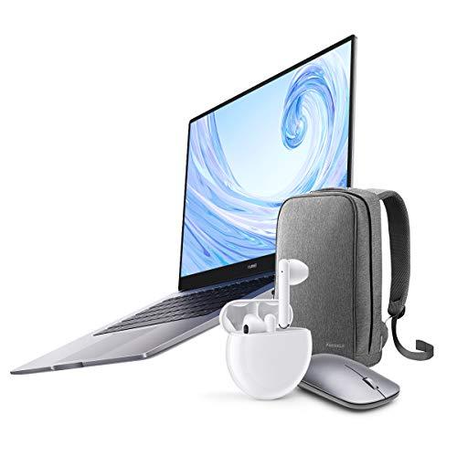 "HUAWEI MateBook D - Ordenador Portátil de 15.6"" FullHD (AMD Ryzen 5 3500U, 8GB RAM, 256GB SSD, Colaboración multipantalla, Windows 10 Home), Mystic Silver + Freebuds 3 + Mochila + ratón inalámbrico"