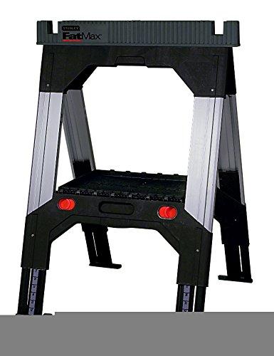 Stanley FatMax Unterstellbock Paar aus Alumnium & Metall 1-92-980 – Höhenverstellbarer Klappbock mit standfesten Teleskop-Metallbeinen – Bis 1300 kg belastbar – 69 x 10 x 83 cm