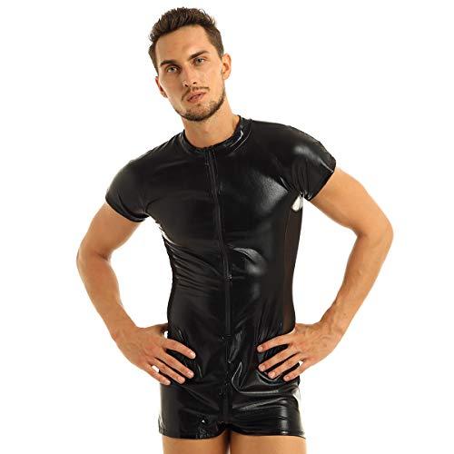 iixpin Herren Body Zip Wetlook Bodysuit Overall Männerbody Einteiler Herrenbody Sportbody Leder-Optik Kontrast Mesh Clubwear Schwarz Gr.M-XXXL Schwarz Medium