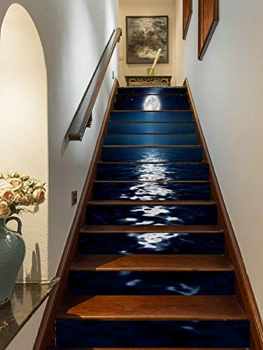 FLFK 3D Bright Moonlight at Sea Staircase Stickers Self-Adhesive...